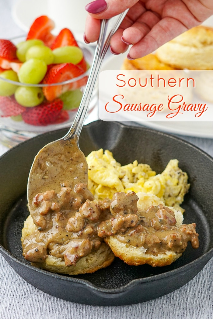 Southern Sausage Gravy image with title text added for Pinterest