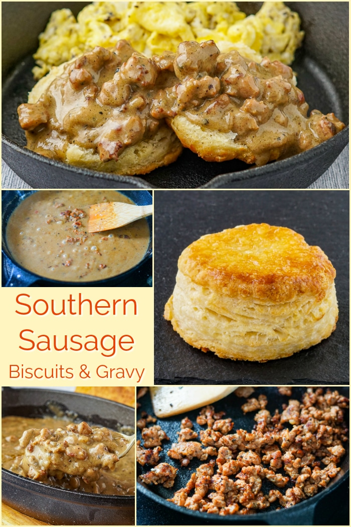 Southern Sausage Gravy photo collage with title text added for Pinterest
