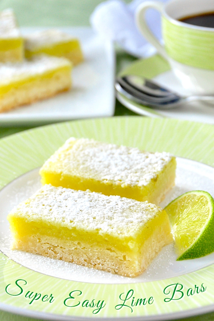Super Easy Lime Bars photo with title text added for Pintertest