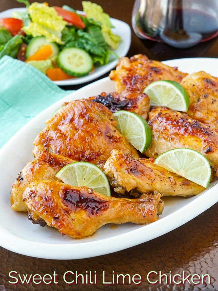 Sweet Chili Lime Chicken Photo with title text for Pinterest