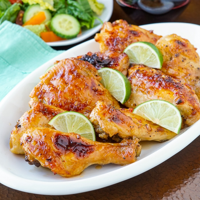 Sweet Chili Lime Chicken on a white serving platter