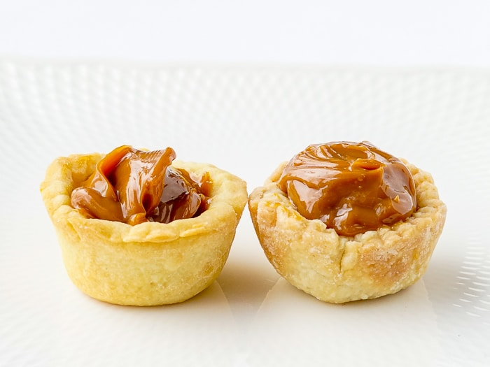 Two caramel Dulche de leche caramel tarts using 2 different pastry recipes