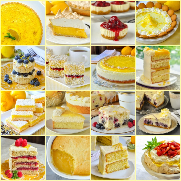 Best Lemon Desserts square photo collage for post featured image