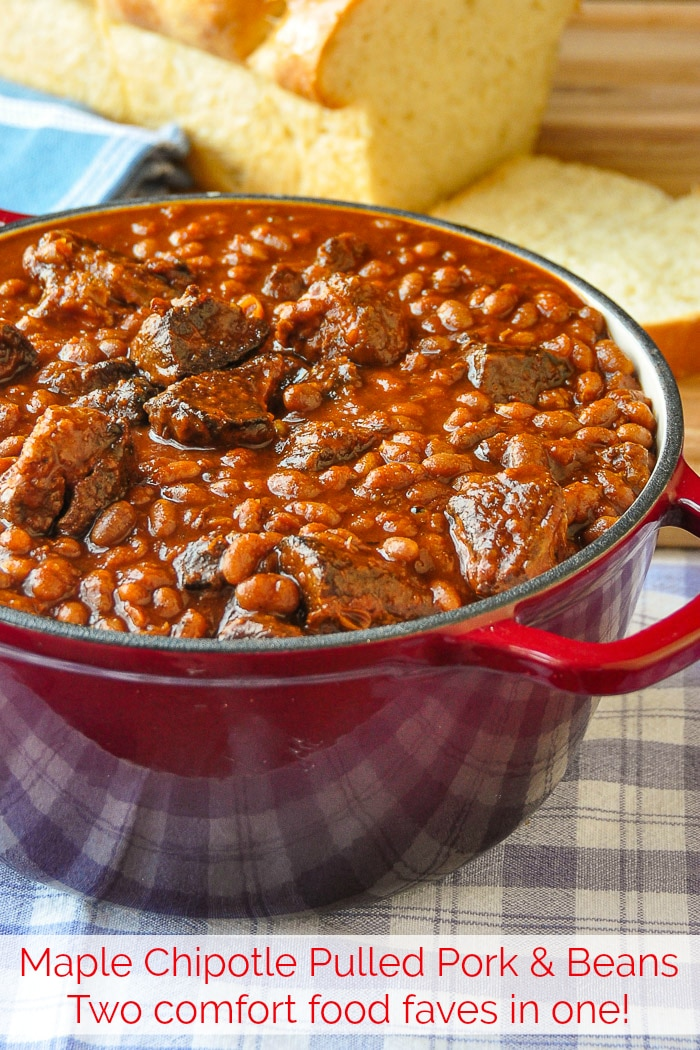 Maple Chipotle Pulled Pork and Beans in a red dutch oven with title text added for Pinterest