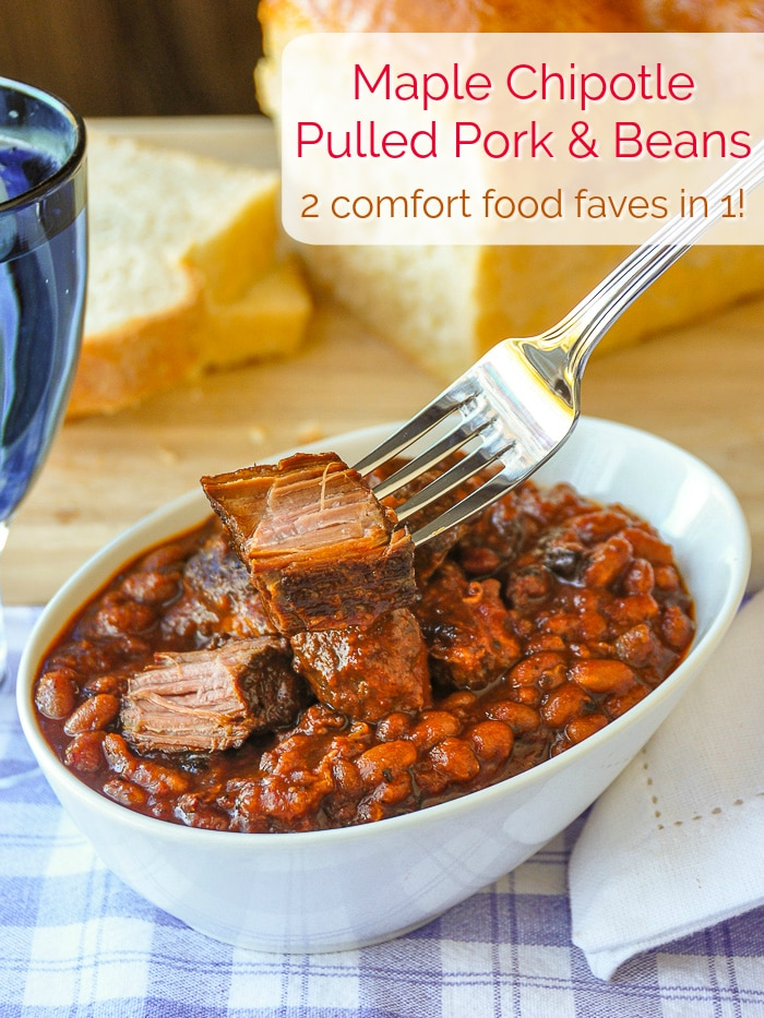 Maple Chipotle Pulled Pork and Beans photo with title text added for Pinterest