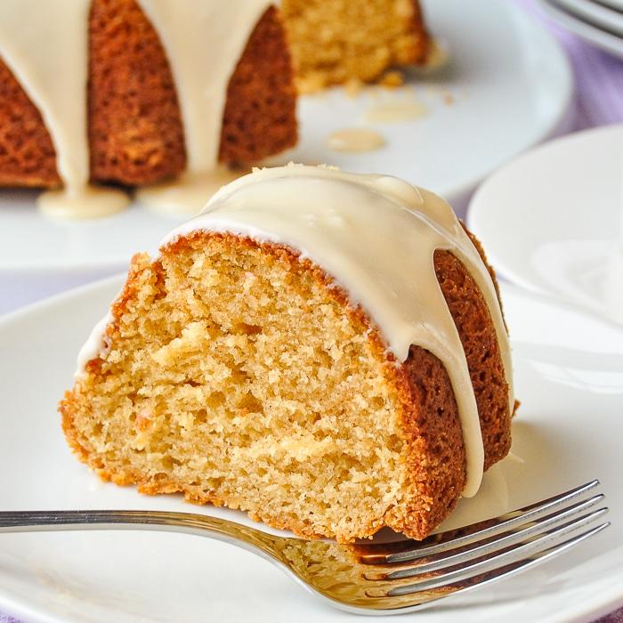 Maple Vanilla Bean Bundt Cake close up photo of a single slice