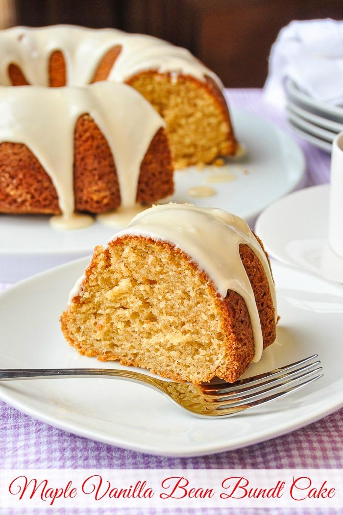Maple Vanilla Bean Bundt Cake photo with title text for Pinterest