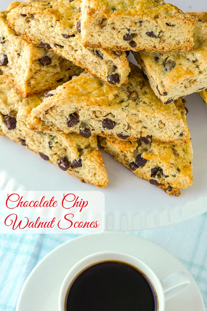 Chocolate Chip Walnut Scones photo with title text added fopr Pinterest