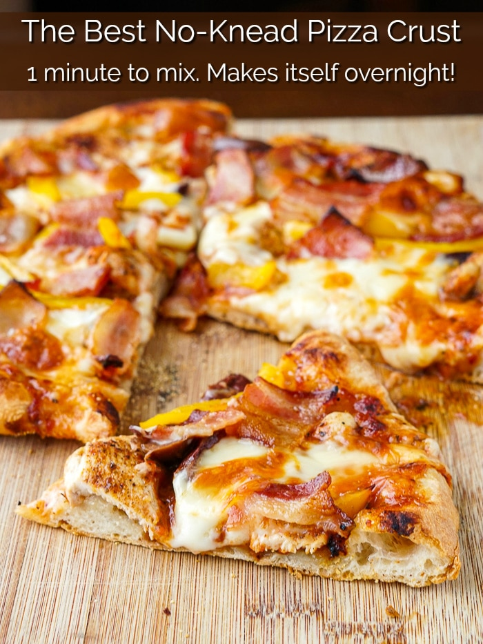 No Knead Pizza Dough photo with title text added for Pinterest