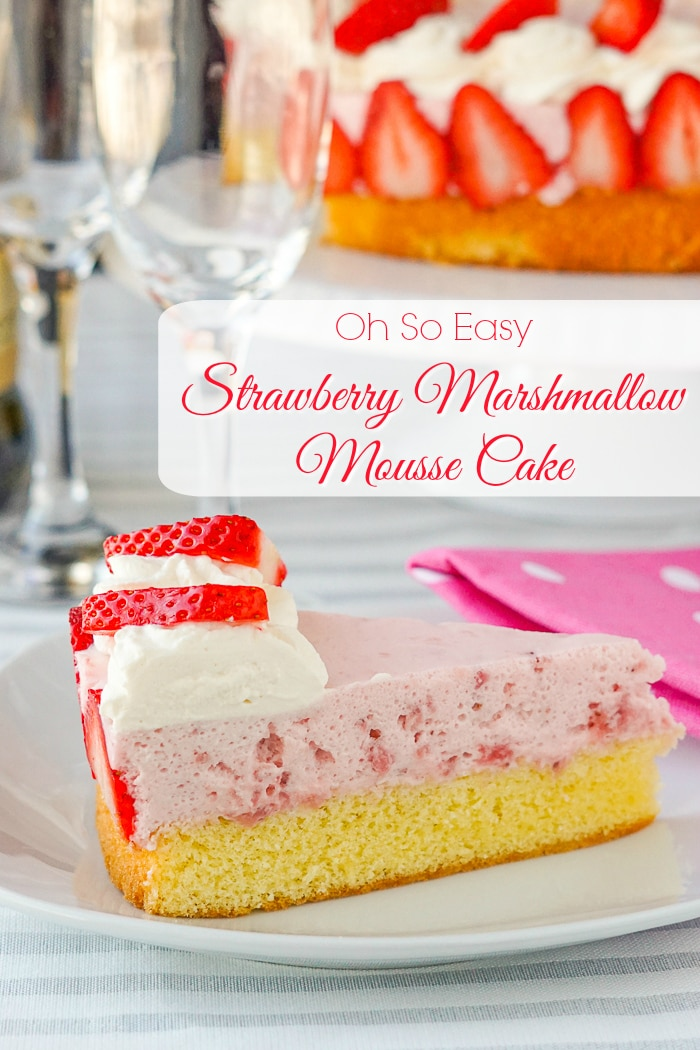 Strawberry Marshmallow Mousse Cake photo of a single slice of cake with title text added for Pinterest