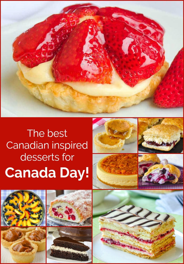 Best Canada Day Desserts photo collage with title text added for Pinterest