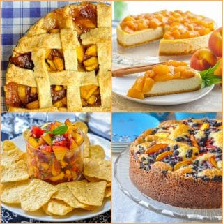 Best Peach Recipes 4 photo collage for featured image