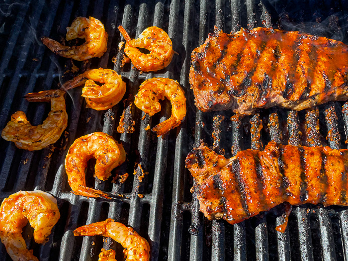 Peri Peri Sauce used for Surf and Turf pictured on a gas grill