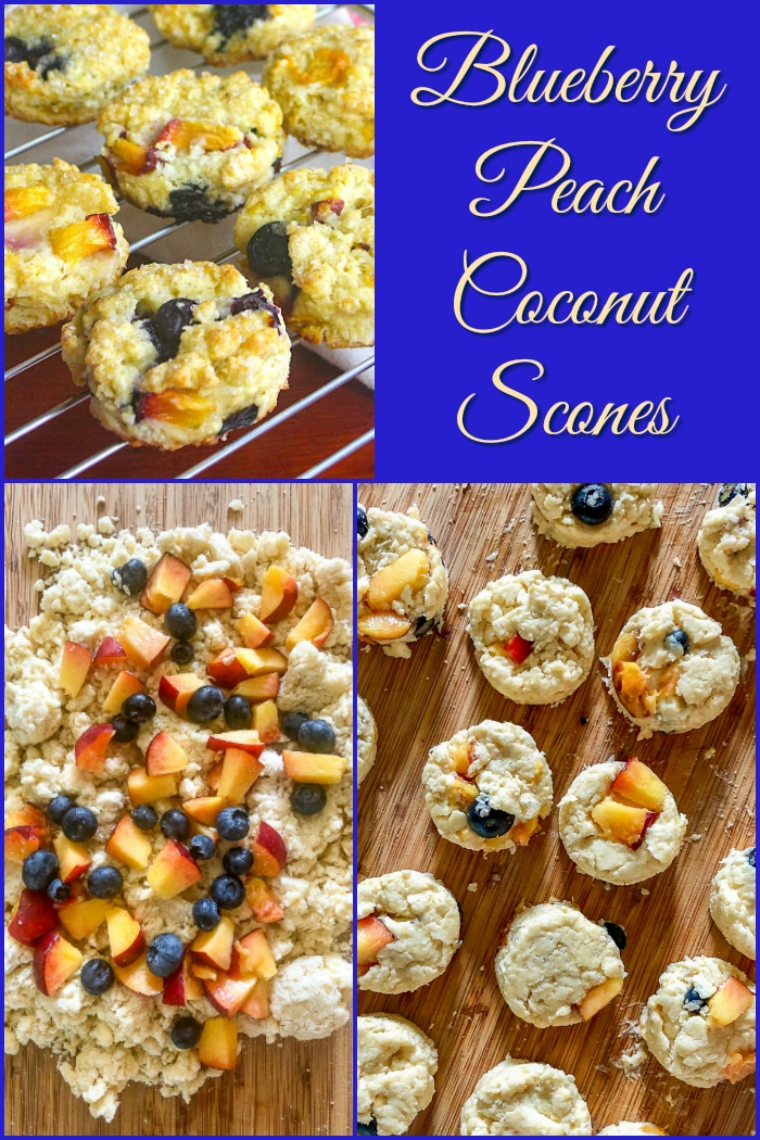 Blueberry Peach Coconut Scones photo collage with title text added for Pinterest