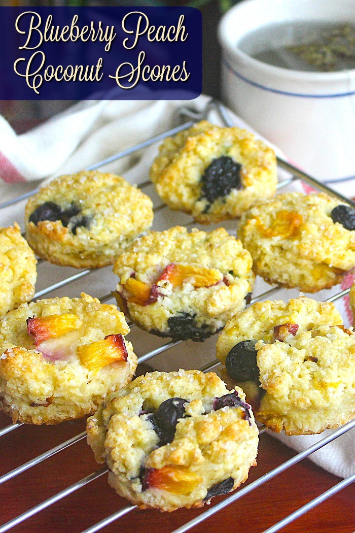 Blueberry Peach Coconut Scones photo with title text added for Pinterest