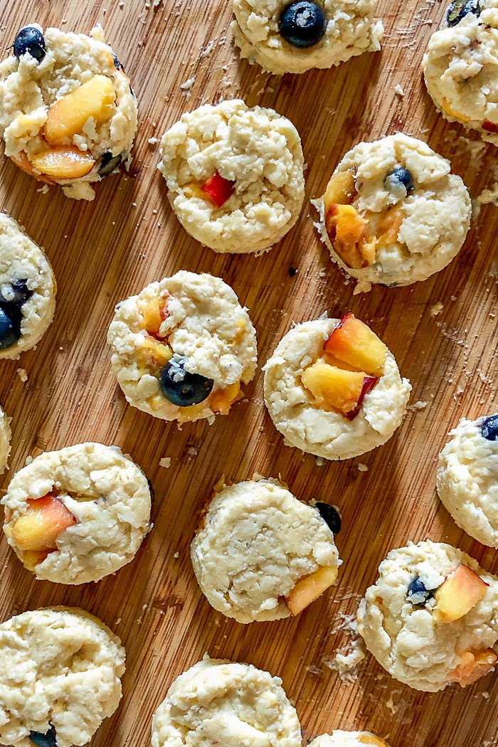 Blueberry Peach Coconut Scones. Ready to place on the pan and bake.