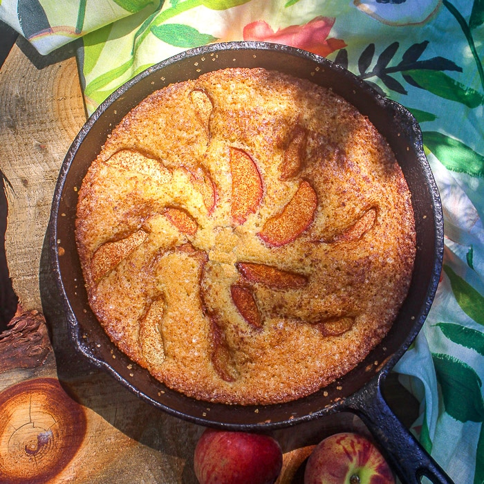 Easy Peach Torte overhead image of torte in a cast iron frying pan