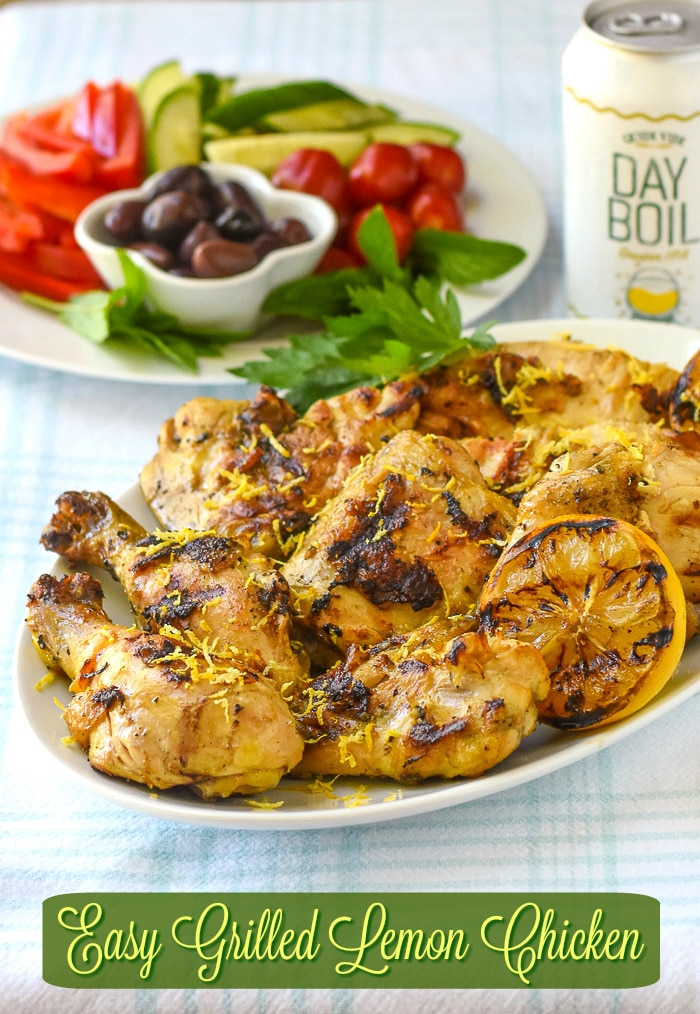 Grilled Lemon Chicken photo with title text added for Pinterest
