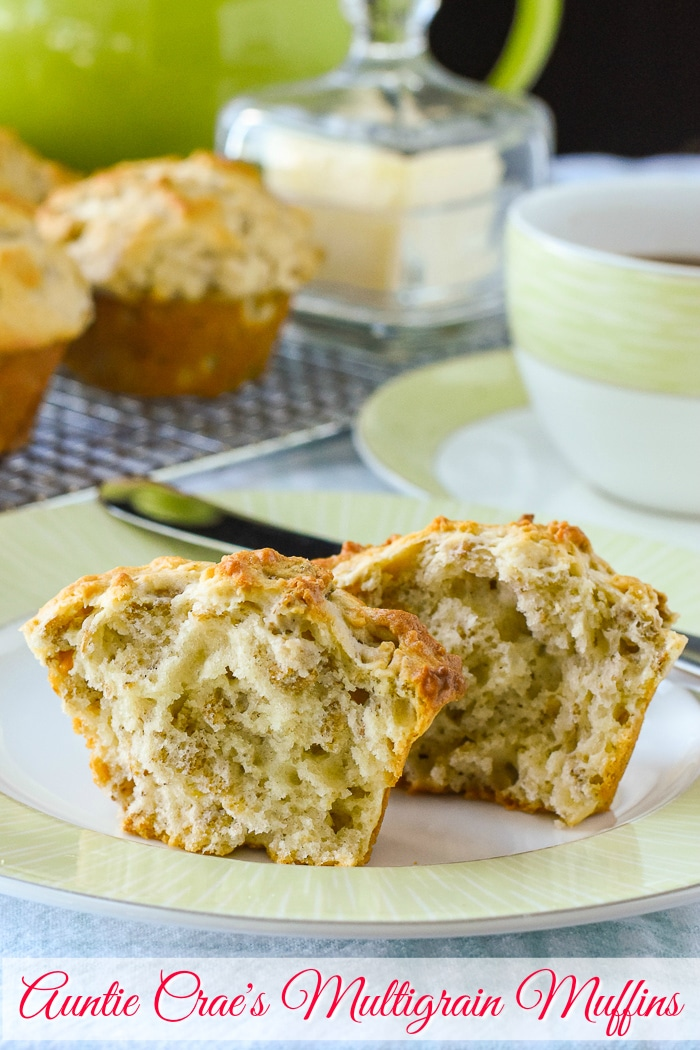 Multigrain Muffins photo with title text added for Pinterest