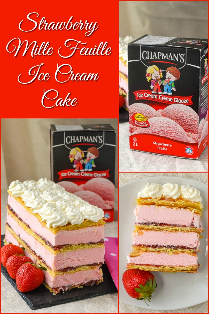 Strawberry Mille Feuille Ice Cream Cake photo collage wuth title text added for Pinterest