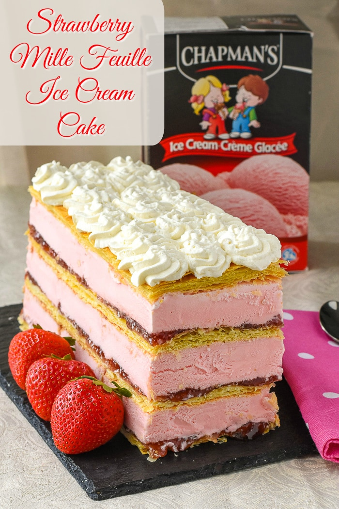 Strawberry Mille Feuille Ice Cream Cake photo with title text added for Pinterest