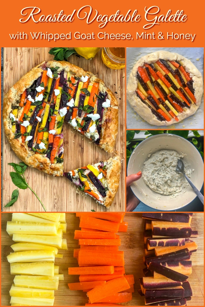 Vegetable Galette with Whipped Goat Cheese, Mint and Honey phot0 collage with title text added for Pinterest