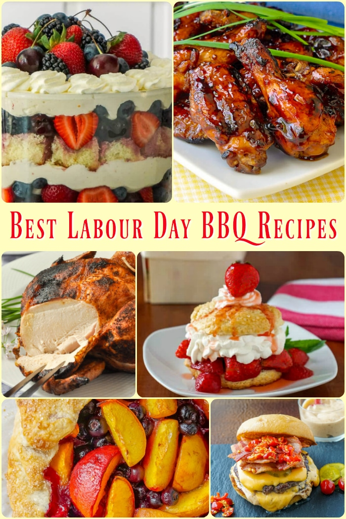 Labour Day Barbecue Recipes photo collage with title text added for Pinterest