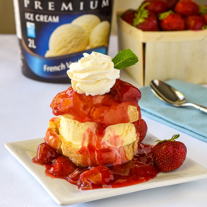 Strawberry Shortcake Profiterole Sundaes