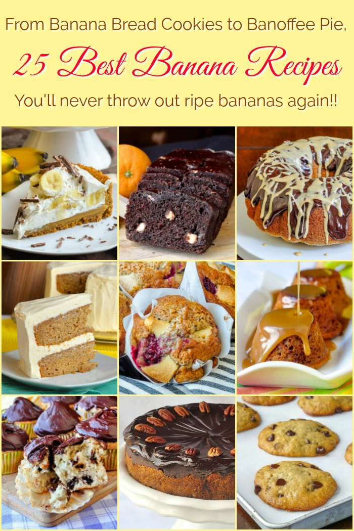 Best Banana Recipes photo collage with title text added for Pinterest
