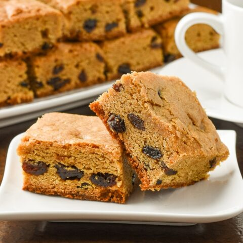 Close up photo of Chewy Raisin Bars for post featured image