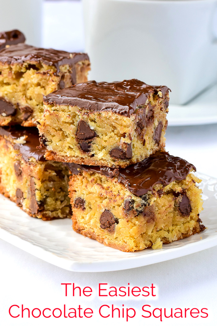 The Easiest Chocolate Chip Squares photo with title text added for Pinterest.