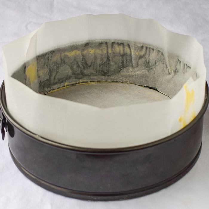Spring form pan lined with parchment paper