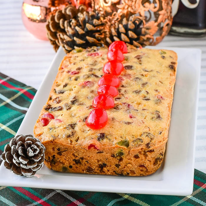 Phopto of peach fruitcake baked in a loaf pan