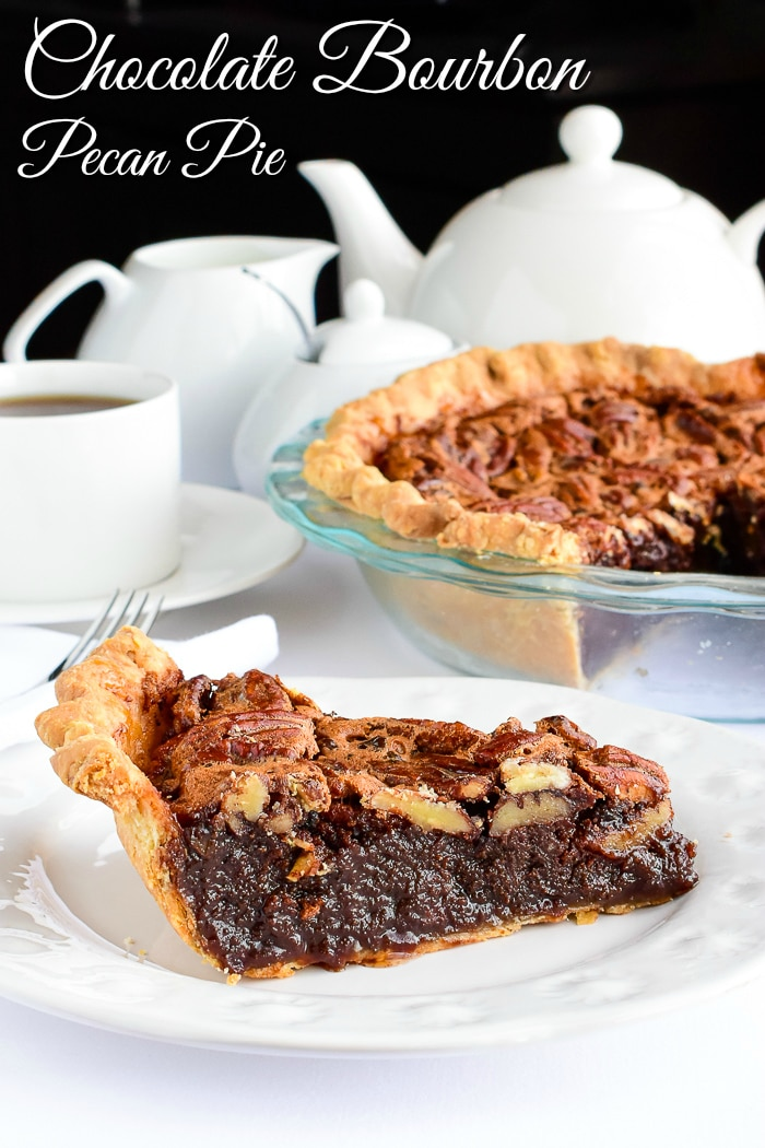 Chocolate Bourbon Pecan Pie photo of a single slice with title text added for Pinterest