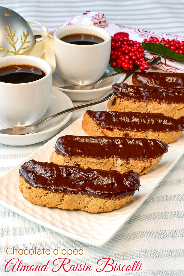 Chocolate dipped Almond Raisin Biscotti photo with title text added for Pintertest