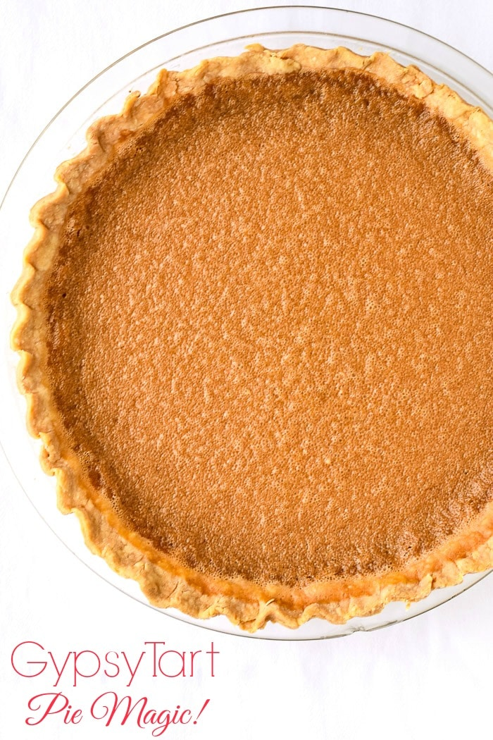Gypsy Tart photo of uncut tart against a white background with title text added for Pinterest