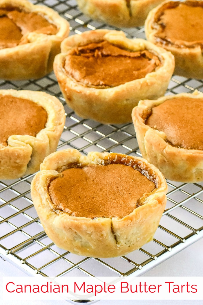 Maple Butter Tarts photo cooling on a wire rack with title text added for Pinterest