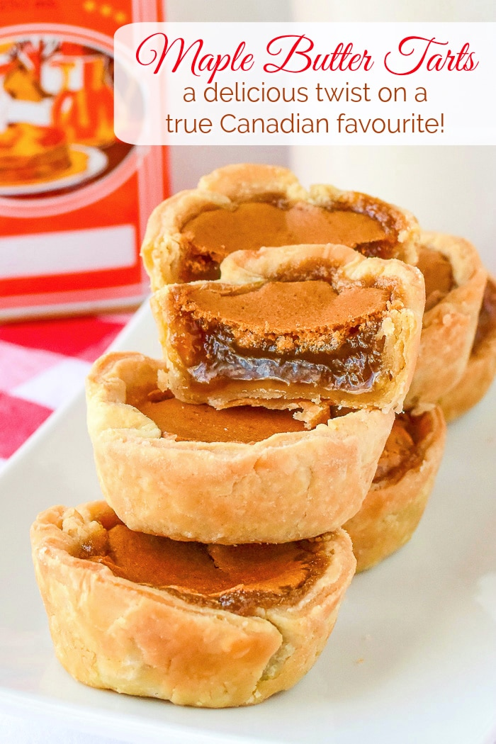 Maple Butter Tarts photo showing the filling of one tart with title text added for Pinterest