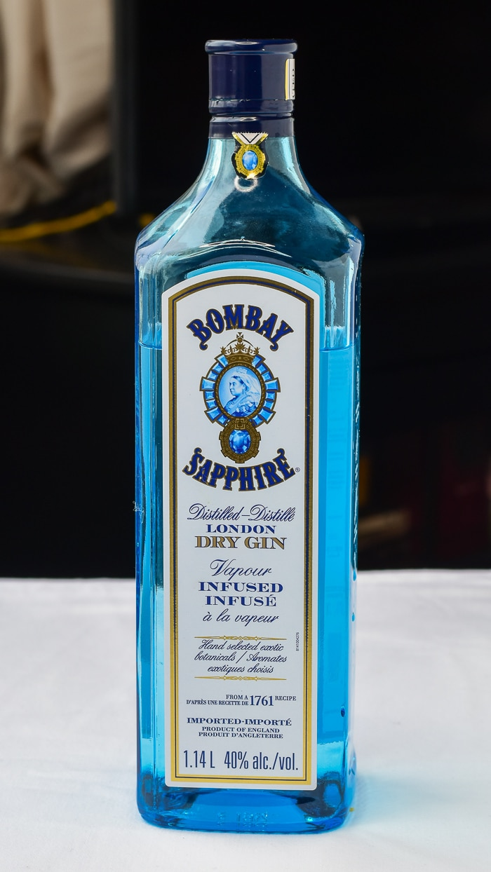 Photo of a bottle of Bombay Sapphire