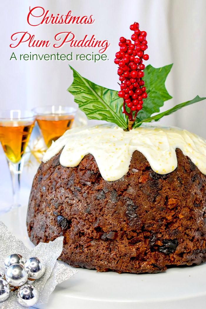Christmas Plum Pudding photo of completed pudding with title text added for Pinterest