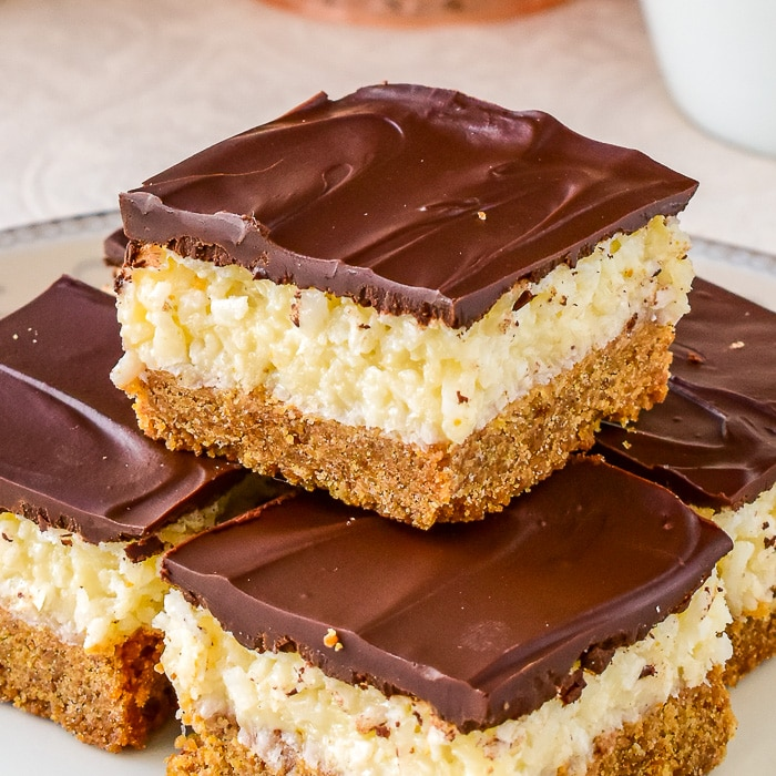 Close up photo of stacked Coconut Dream Bars