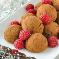 Raspberry Chocolate Truffles square cropped close up photo for featured image