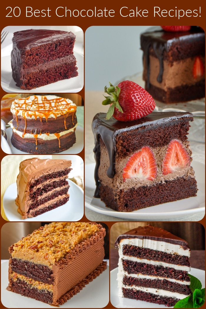 Best Chocolate Cake Recipes photo collage with title text added for Pintertest