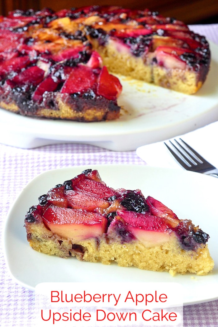 Blueberry Apple Upside Down Cake photo of a single slice with title text added for Pinterest