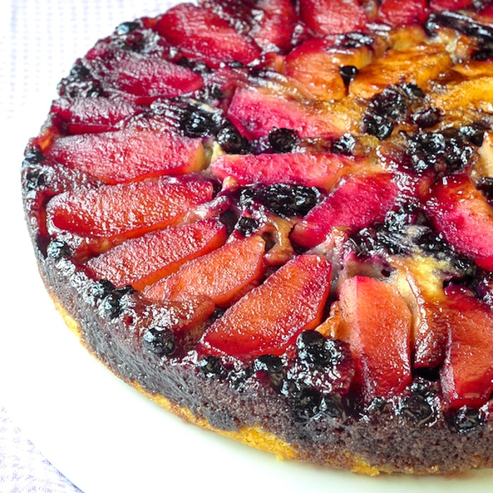 Blueberry Apple Upside Down Cake photo of uncut cake