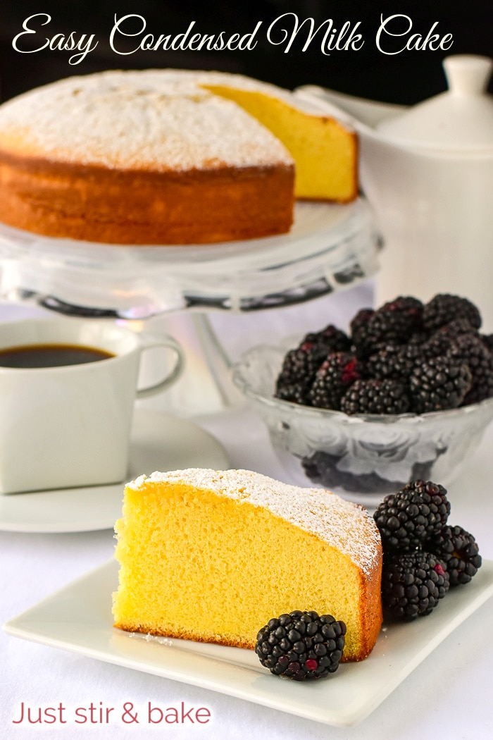 Condensed Milk Cake photo with title text added for Pinterest