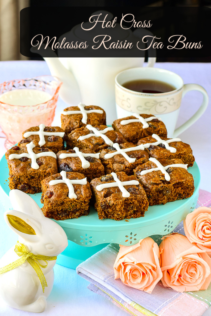 Hot Cross Molasses Raisin Tea Buns photo with title text added for Pintertest