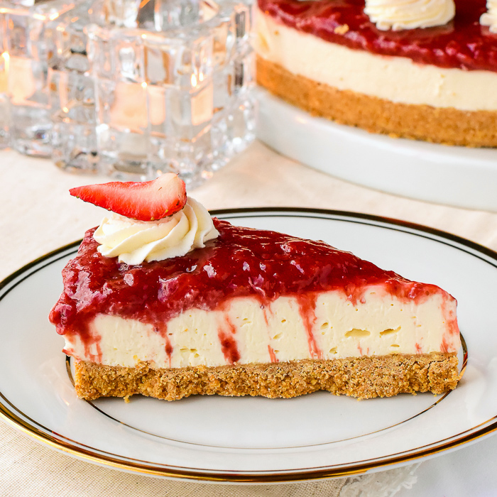 No Bake Strawberry Cheesecake. Make w/ frozen strawberries year round!