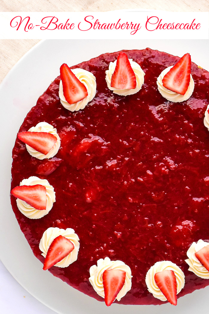 No Bake Strawberry Cheesecake overhead photo of unut cake with title text added for Pinterest