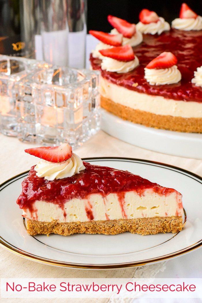 No Bake Strawberry Cheesecake photo of a single slice with title text added for Pinterest